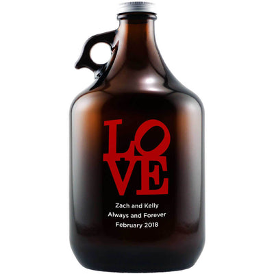 Love in a block shape custom etched beer growler by Etching Expressions