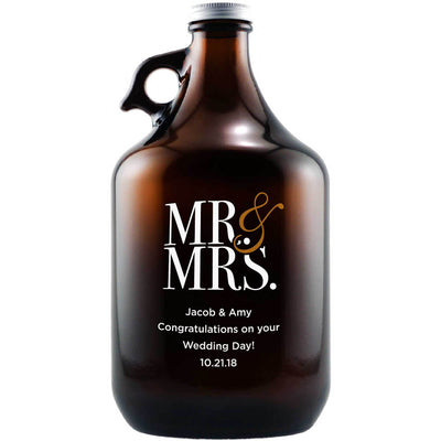 Mr & Mrs contemporary serif font custom etched beer growler wedding gift by Etching Expressions