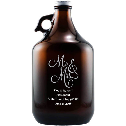 Mr & Mrs fancy writing etched beer growler wedding gift by Etching Expressions