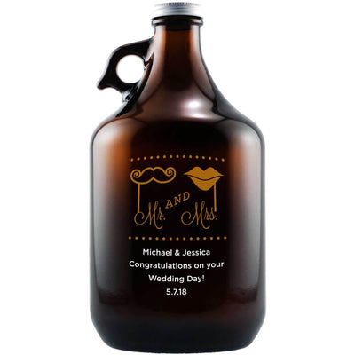 Mustache and Lips custom wedding gift etched beer growler by Etching Expressions
