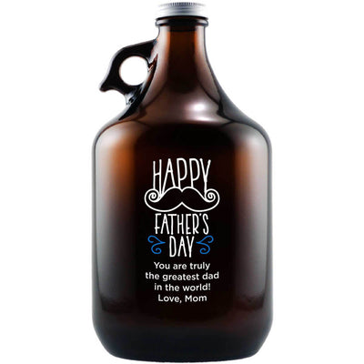 Personalized beer growler with mustache design custom Father's Day gift by Etching Expressions
