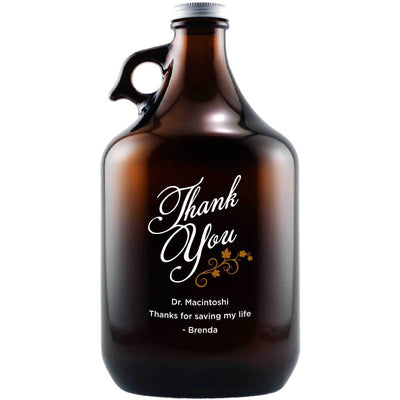 Thank You in script with vines custom etched beer growler by Etching Expressions