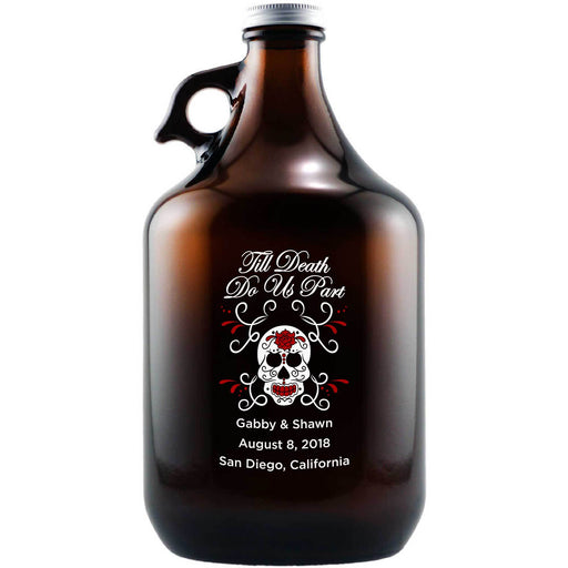 Til Death Do Us Part macabre skull wedding gift personalized beer growler by Etching Expressions