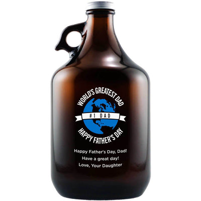 World's Greatest Dad custom engraved craft beer growler Father's Day gift for beer lover by Etching Expressions