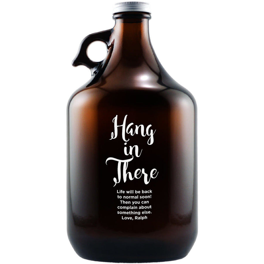 """Hang in There"" custom beer growler by Etching Expressions"