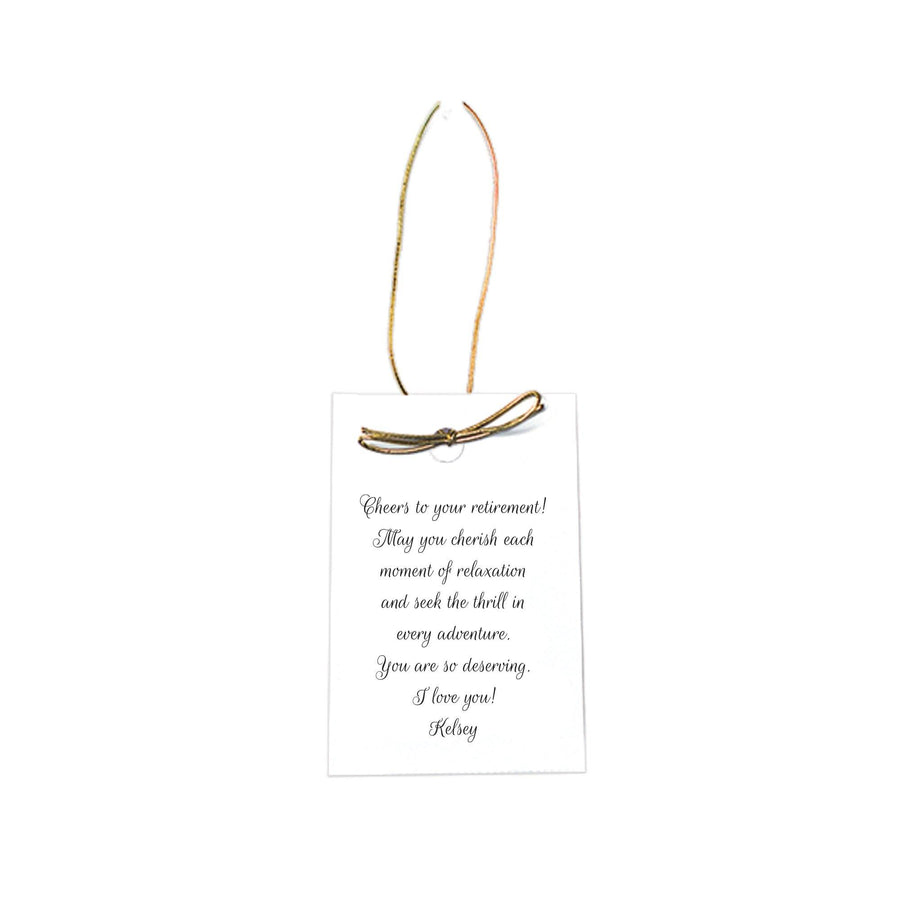 Personalized hang tag with script font and gold loop