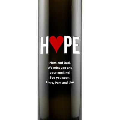 """Hope"" with a heart custom engraved olive oil bottle zoomed view by Etching Expressions"