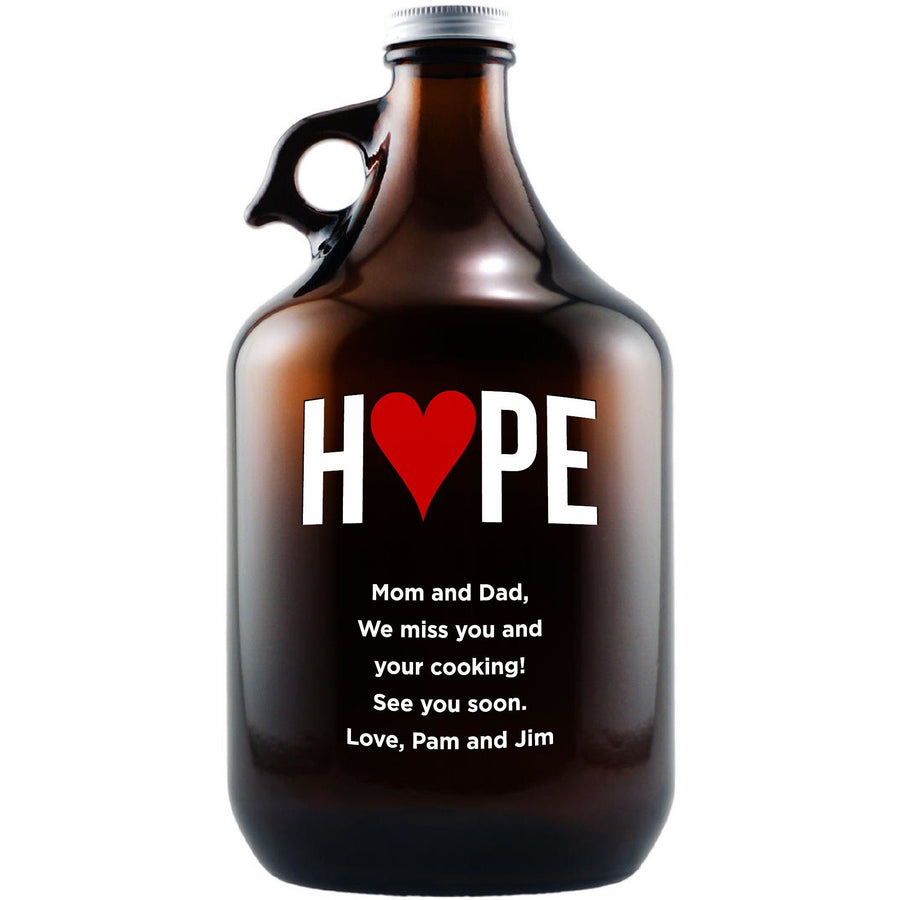 Hope with a heart design custom engraved beer growler by Etching Expressions