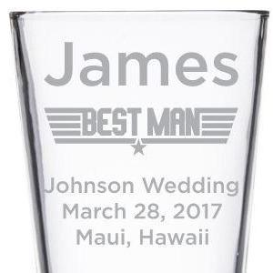 Best Man custom military style wedding party gift pint glass by Etching Expressions