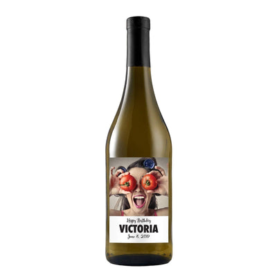 Custom uploaded picture on white wine bottle by Etching Expressions