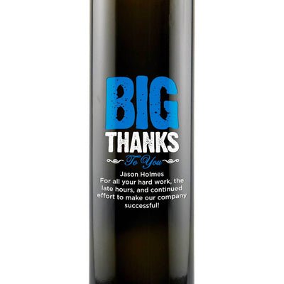Big Thanks To You engraved olive oil thank you cooking gift by Etching Expressions