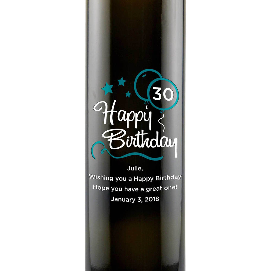 Happy 30th Birthday with blue balloons personalized engraved olive oil bottle birthday gift by Etching Expressions