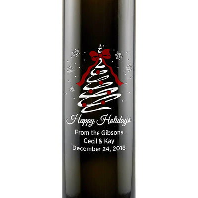 Happy Holidays Christmas Tree Swirl engraved custom olive oil foodie christmas gift for chefs by Etching Expressions