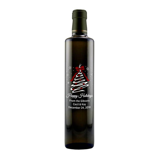 Happy Holidays Christmas Tree Swirl etched personalized olive oil bottle gift for chefs by Etching Expressions
