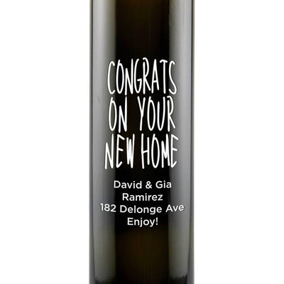 Congrats on Your New Home engraved olive oil housewarming gift by Etching Expressions