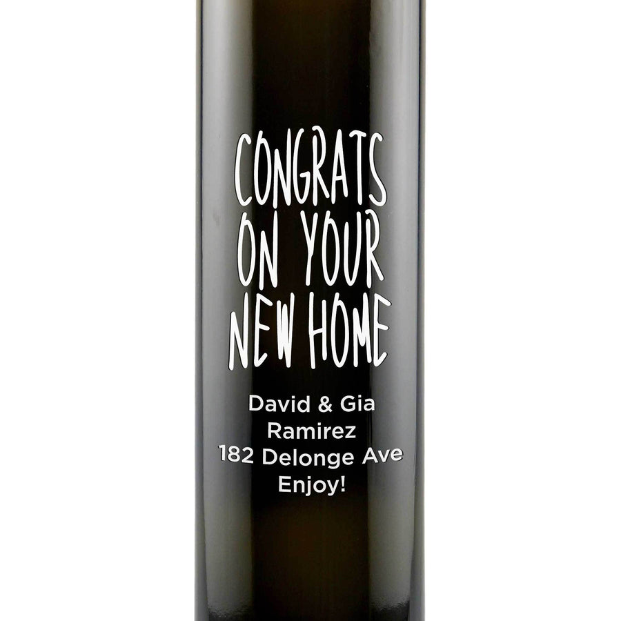Congrats on Your New Home etched olive oil bottle custom housewarming gift by Etching Expressions