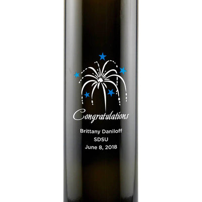 Congratulations Fireworks graphic on an engraved olive oil gift by Etching Expressions