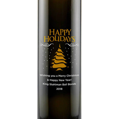 Happy Holidays Christmas Tree design on personalized olive oil chef gift by Etching Expressions