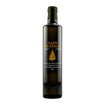 Happy Holidays Christmas Tree design on custom etched olive oil bottle by Etching Expressions