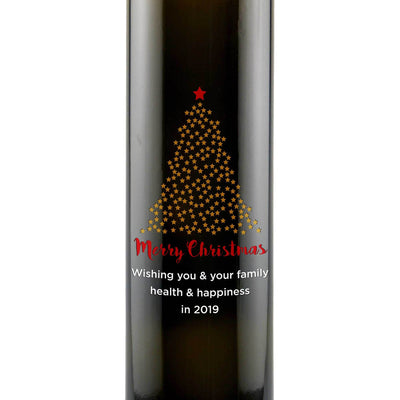 Merry Christmas starry Christmas Tree custom design on gourmet olive oil gift bottle Christmas gift by Etching Expressions