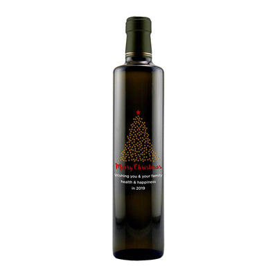 Merry Christmas starry Christmas Tree design on custom olive oil bottle Christmas gift by Etching Expressions