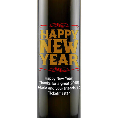 Happy New Year custom olive oil gift for chefs by Etching Expressions
