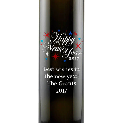 Happy New Year fireworks etched personalized foodie new year gift olive oil bottle by Etching Expressions