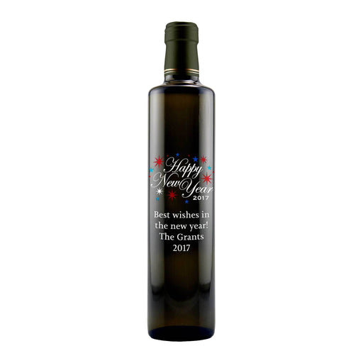 Happy New Year fireworks engraved custom olive oil bottle by Etching Expressions