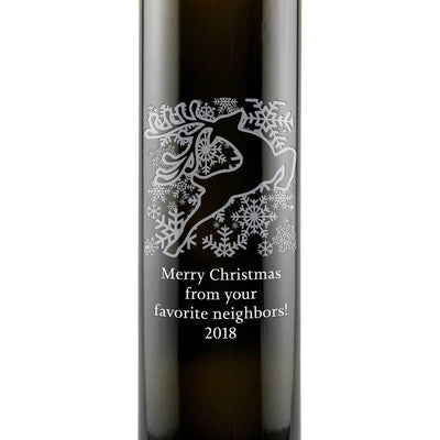 Holiday Reindeer design on a personalized gourmet olive oil bottle by Etching Expressions