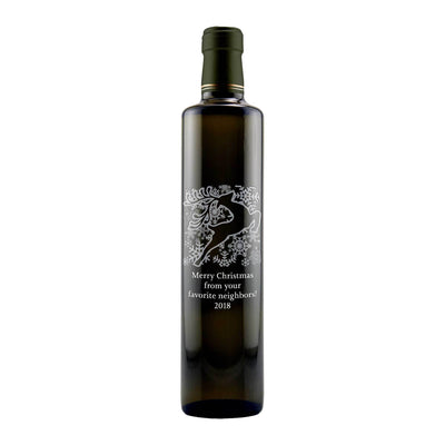 Holiday Reindeer design on a custom olive oil bottle by Etching Expressions