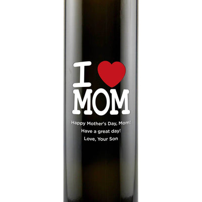 I Heart Mom personalized olive oil cooking gift for Mother's Day by Etching Expressions