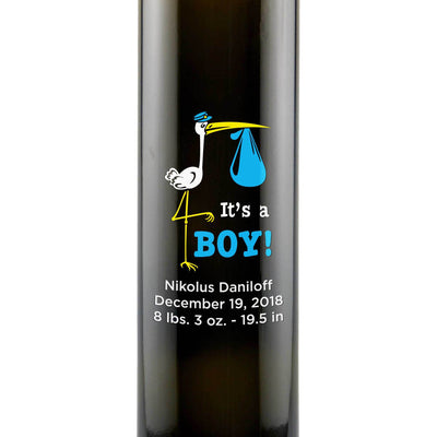 It's a Boy! with a stork graphic etched on a custom olive oil bottle newborn gift by Etching Expressions