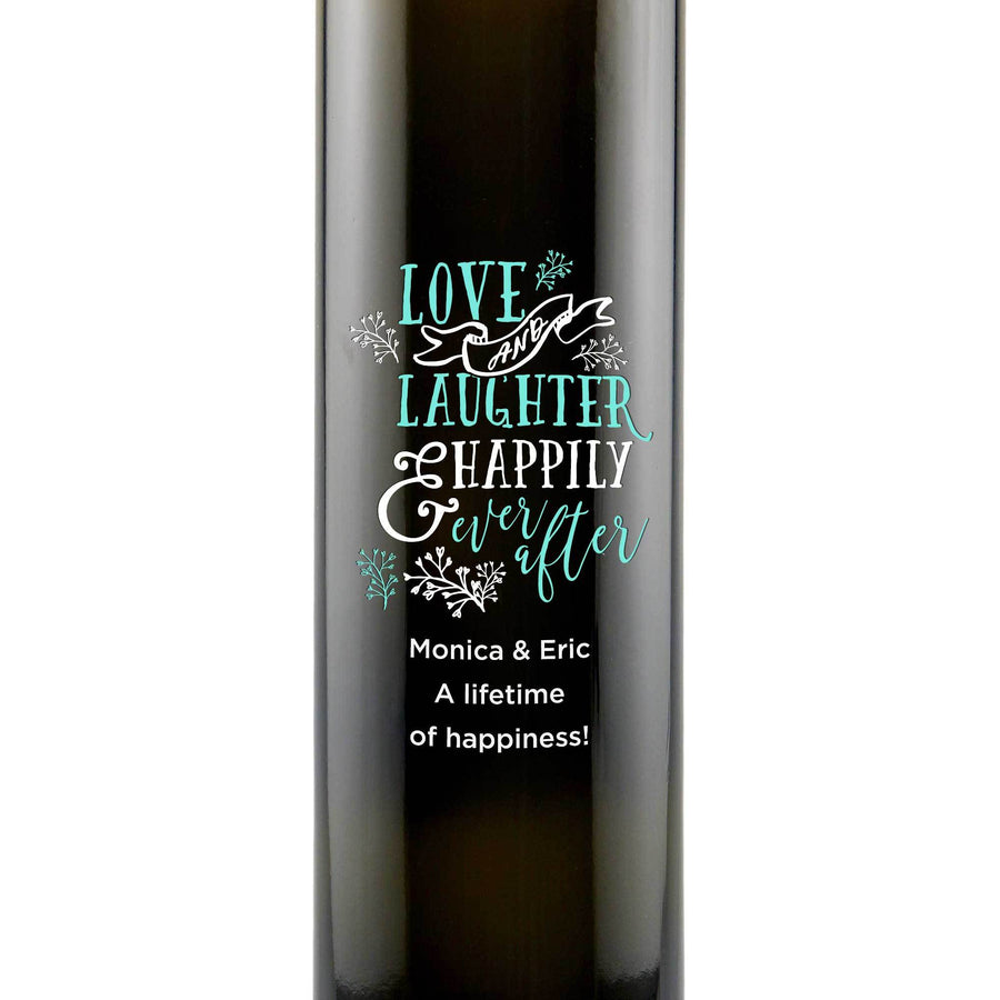 Personalized Etched Balsamic Vinegar / Olive Oil - Love and Laughter