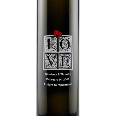 Personalized Etched Balsamic Vinegar / Olive Oil - Love Box