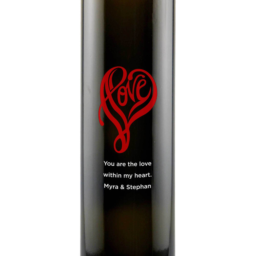 Personalized Etched Balsamic Vinegar / Olive Oil - Love Shape