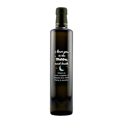 Personalized Etched Balsamic Vinegar / Olive Oil - Moon and Back Stars