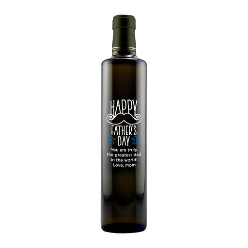 Happy Father's Day with a mustache design custom olive oil bottle by Etching Expressions
