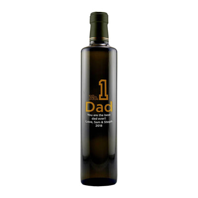 Number 1 Dad custom etched olive oil bottle for Father's Day gift by Etching Expressions