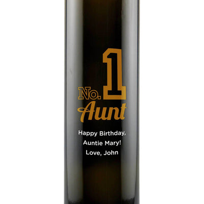Number 1 Aunt design engraved on glass olive oil bottle gift by Etching Expressions