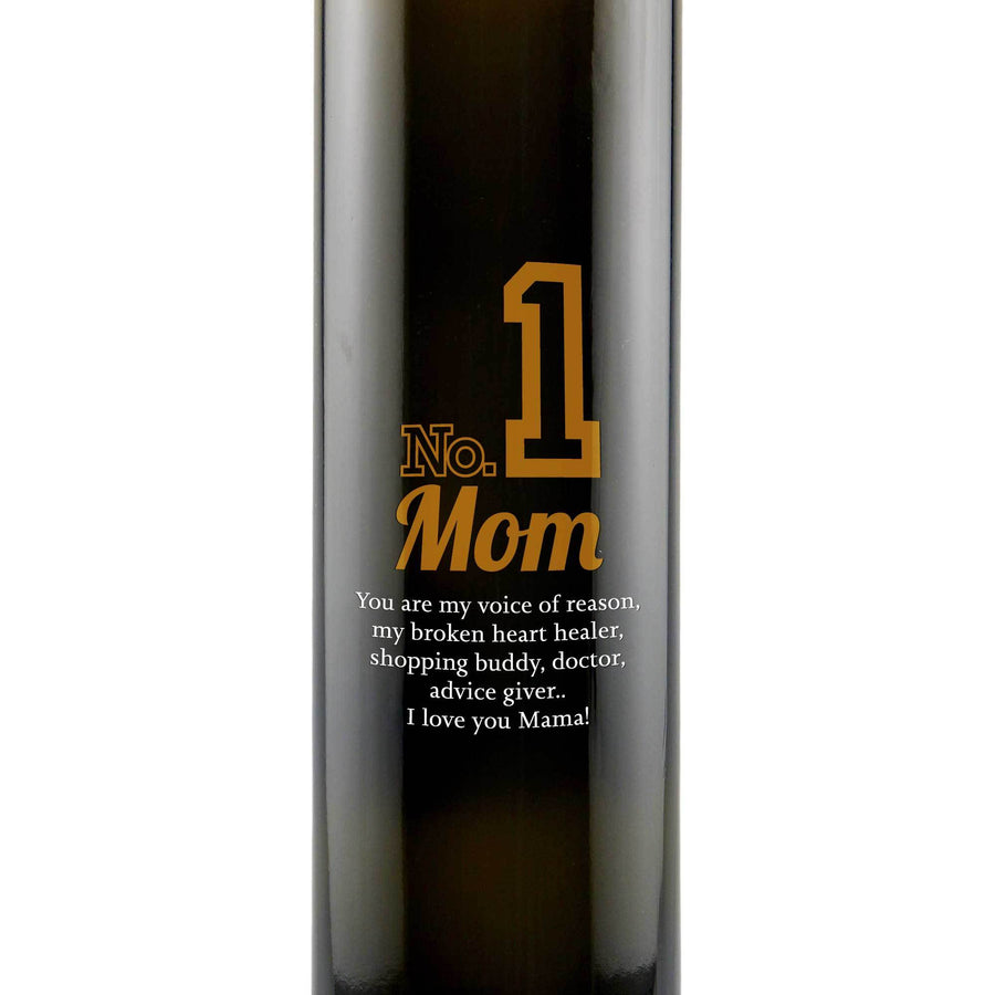 Number 1 Mom design engraved on glass olive oil bottle gift by Etching Expressions