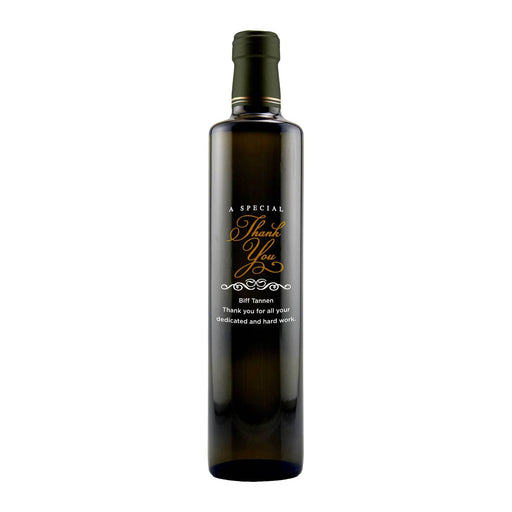 A Special Thank You customized gourmet thank you give olive oil bottle by Etching Expressions