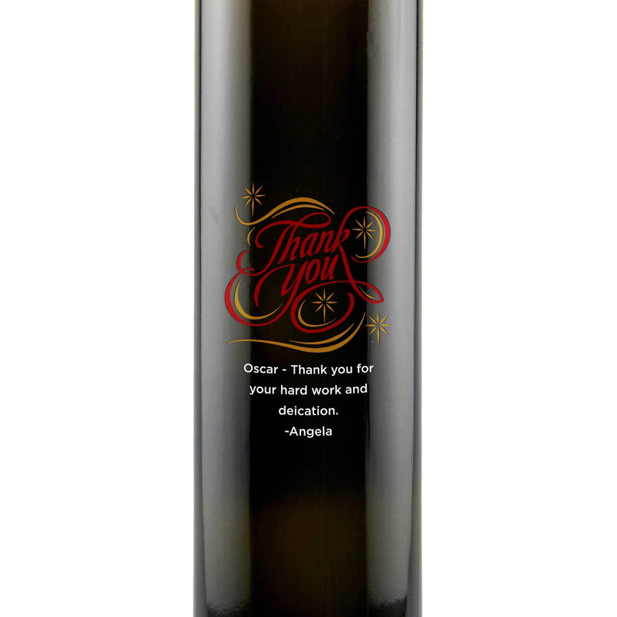 Thank You in a fancy swirl design on a customizable olive oil bottle by Etching Expressions