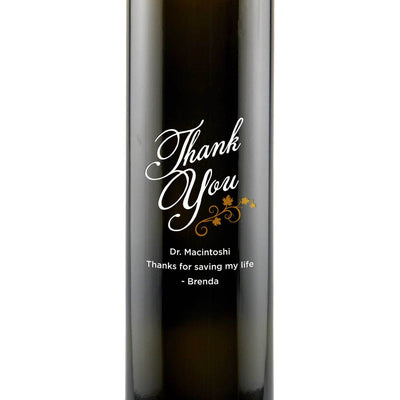 Thank You with vines design on personalized olive oil bottle thank you gift by Etching Expressions