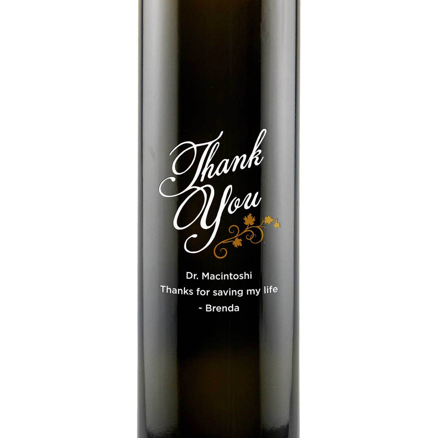 Thank You with vines design on custom olive oil bottle thank you gift by Etching Expressions