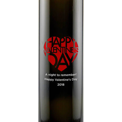 Happy Valentine's Day personalized decorative olive oil bottle Valentine's Day gift by Etching Expressions