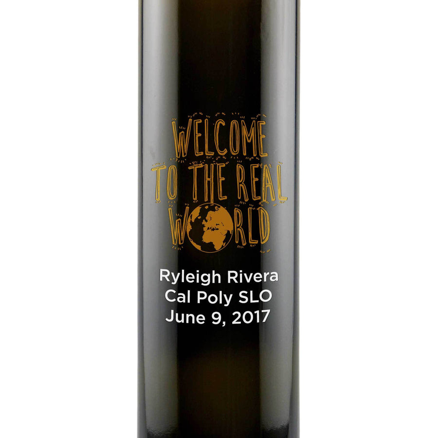 Welcome to the Real World Custom Etched Graduation Olive Oil Gift by Etching Expressions