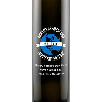 World's Greatest Dad custom engraved olive oil gift for Father's Day present by Etching Expressions