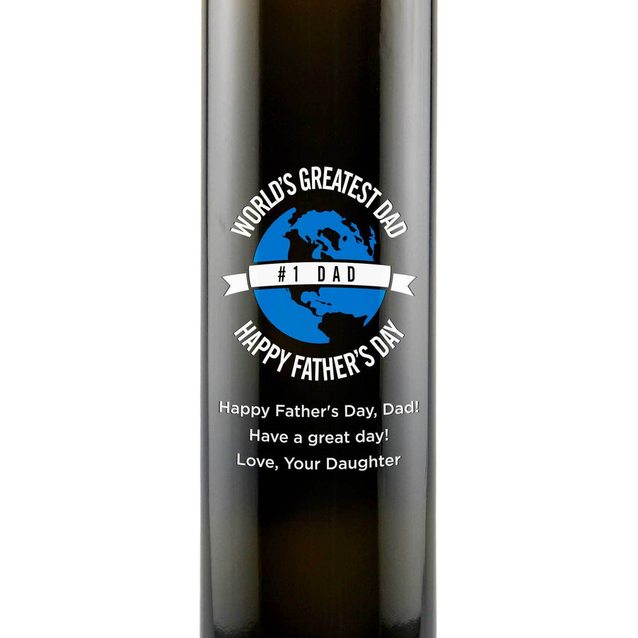 World's Greatest Dad custom etched olive oil bottle Father's Day gift by Etching Expressions