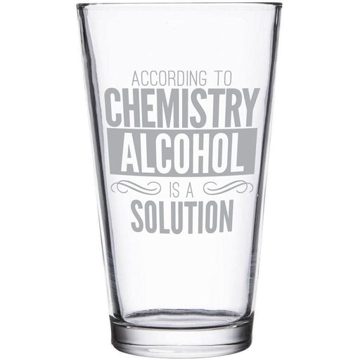 """""""Alcohol is a solution"""" etched beer glass by Etching Expressions"""