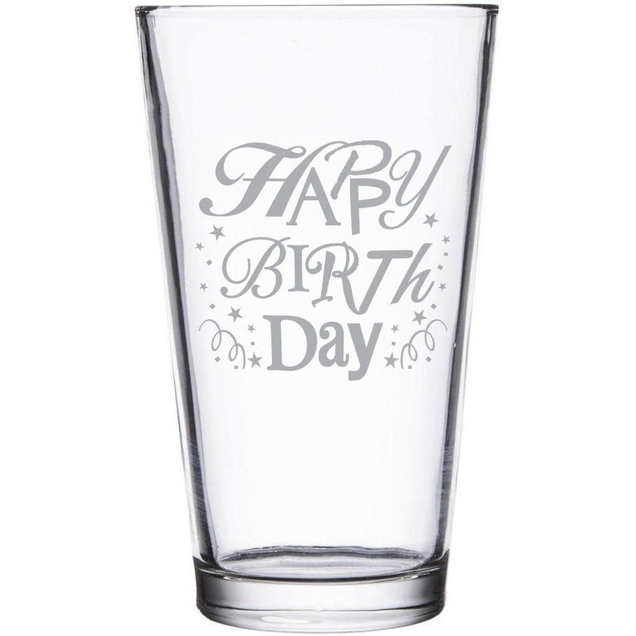Beer Pint Glass - Sparkly Happy Birthday